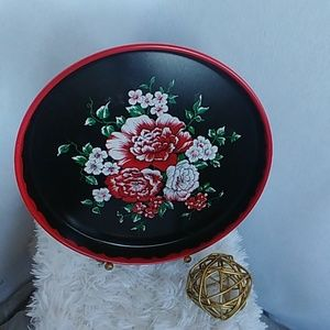 Vintage Metal Floral Serving Tray